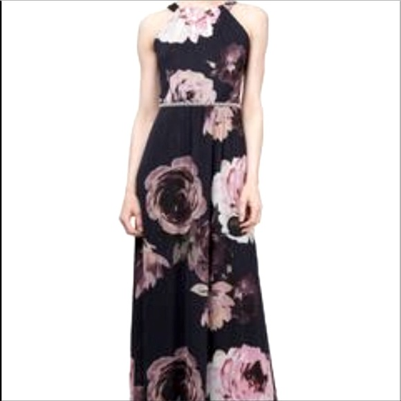 SLNY Womens Embellished Floral Evening Dress